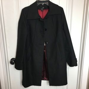 H&M black jacket winter button coat fully lined